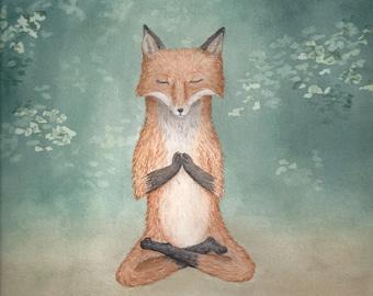 Meditating Fox yoga lotus pose woodland creature watercolor art print - 8.5x11