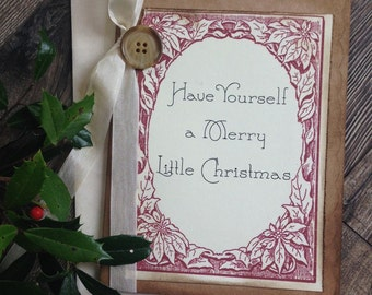 Christmas Card Set - Rustic Christmas Card- Holiday Card- Handmade cards- Vintage Christmas Cards