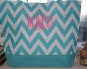 Turquoise CHEVRON Tote Bag Beach Bag With Monogram (Embroidery)-Bridesmaid Gift, Teachers, Mom