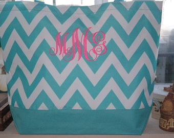 Turquoise CHEVRON Tote Bag Beach Bag With Monogram (Embroidery)-Bridesmaid Gift, Teachers, Mom