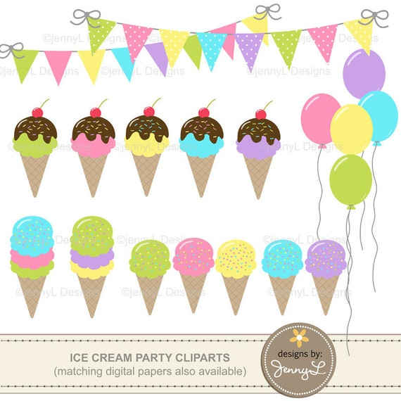 Ice Cream Party Clipart Birthday Balloons Bunting Banner