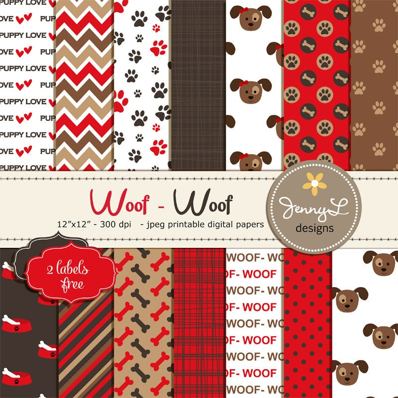 Dog Digital papers Pet Red and Brown Puppy Dog Theme Paws