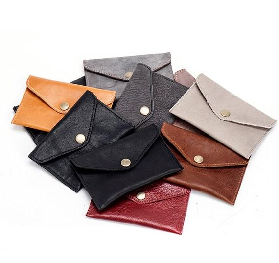 Camel Brown Slim Leather Wallet / Leather Coin Purse / Mens Wallet / Unisex Wallet / Little Purse / Pocket Wallet - Niki