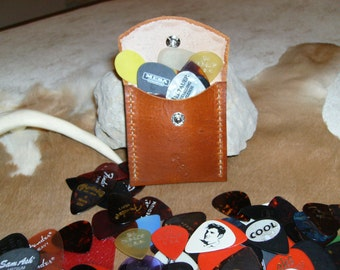 """Guitar Pick Case, Leather, handmade,tooled and stitched. 2 3/4"""" x 2 3/4"""" english bridle"""
