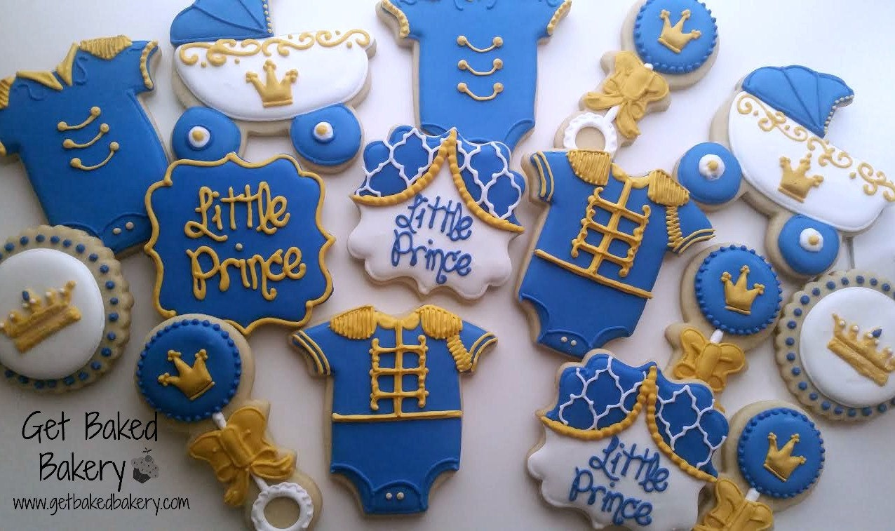 fit for a prince baby shower cookies available by getbakedbakery
