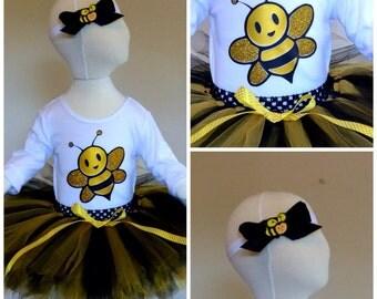 Black and Gold Bumblebee tutu set, birthday tutu, First birthday tutu, 1st birthday tutu