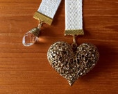 Gold Chevron Pattern Ribbon with Gold Heart Charm, Valentine's Day Bookmark