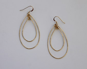 Large Gold Filled Hoop Earrings, Double Hoops, Hammered Gold Earrings