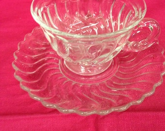 """Fostoria """"Colony"""" Cups and Saucers  Set of 4"""