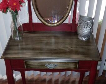 Rustic barn red and wood vanity
