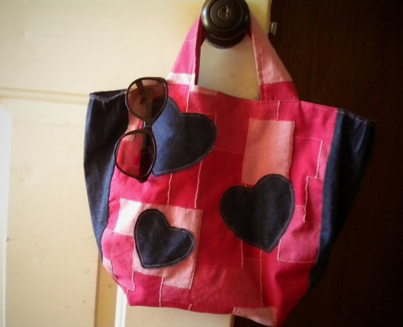 3 Heart Pink and Blue Denim Tote Bag