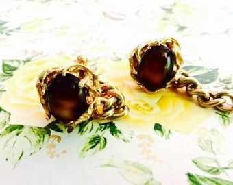 1970s Tiger Eye Cufflinks with Chains