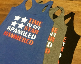 Star-Spangled-Hammered. July 4th Tank Top. Racerback. Red White and Blue. Country Concert Tank Top. Country Festival Tank. Drinking Tank Top