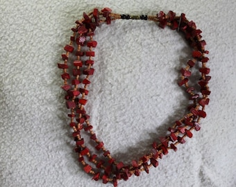 Red Triple Stranded Wooden Beaded Necklace