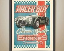 Racer Boy. Boys room. Ford Cobra. AC Cobra. Boys Car Poster. Garage Poster. Boys bedroom. Racing car. Mechanic. Red white blue.
