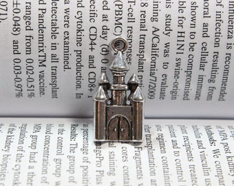Castle charms 28 x 14mm antique silver tone Castle Charm for Necklace or Bracelet