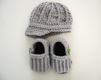 Newborn Infant Baby Boy Crochet Ribbed Newsboy Cap and Loafers Set