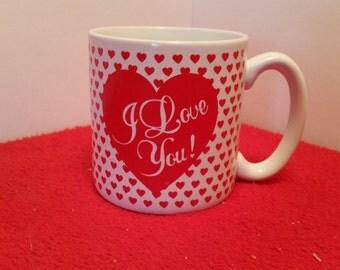 vintage mug / I love you / valentines day mug / 1988 flowers, Inc.