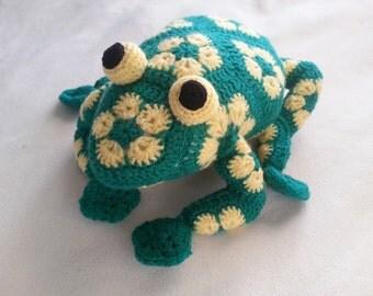 Handmade, crochet toy Frog, African Flower motifs, Amigurumi toy.