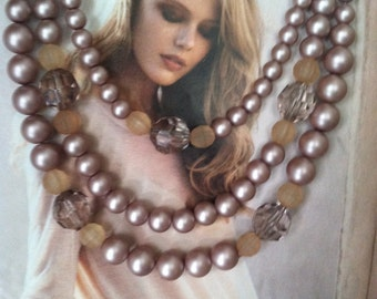 Pinkish Brown Triple Statement Necklace