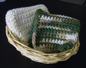 Crochet Crocheted Dishcloths Washcloths Made With Super Soft Cotton Yarn