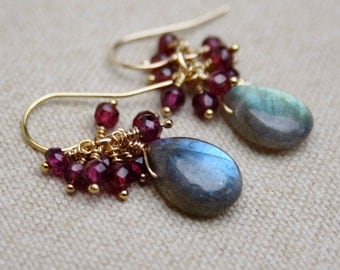 Labradorite and Garnet 14K Gold Filled Earrings - 14K Gold Filled Cluster Earrings - Dangle Gemstone Earrings