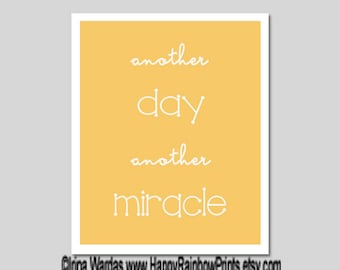 Another day another miracle quote download, new day beginning printable, digital typography, positive attitude thinking, yellow art print