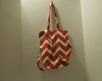 Red and White Chevron Expandable Fold-over Tote