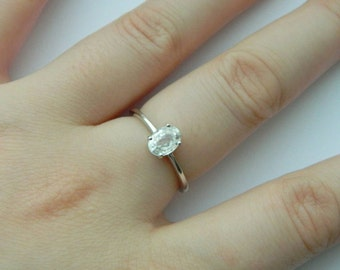 Zircon Sterling Silver Ring - Solitaire Ring - Engagement Ring - Sterling Silver - Silver Ring - Jewellery - Jewelry  - Gemstone Ring