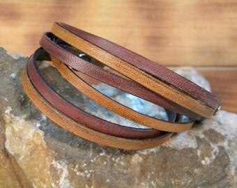 Mahogany and Tan 3 wrap split  design geunine leather handmade  bracelet