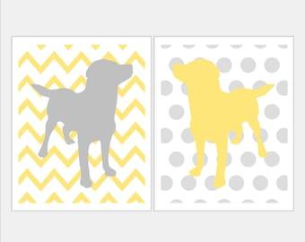 Grey and Yellow Nursery Puppy Nursery Art - Labrador Puppy Dog Nursery Art Duo Set of Two Chevron Zig Zag Polka Dot Stripe Prints. Pick Size