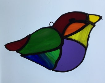 Rainbow colored Birds, stained glass birds