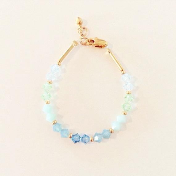 Mint Ombre Swarovski Crystal Bracelet | Mint + Gold Swarovski Crystal Birthstone Bracelet for Baby Toddlers Girls Adults, Mommy and Me