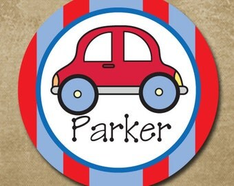 Red Car Melamine Plate for boys, Personalized Vehicle Plate, Makes a fabulous gift