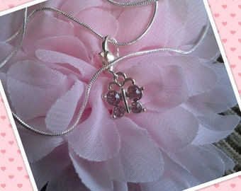 pink gem butterfly pendant silver necklace