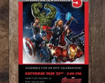 The Avengers Birthday Invitation - Marvel's The Avengers 5 x 7 Invite