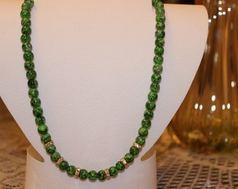Green-Black Beaded Necklace with Crystal Spacers