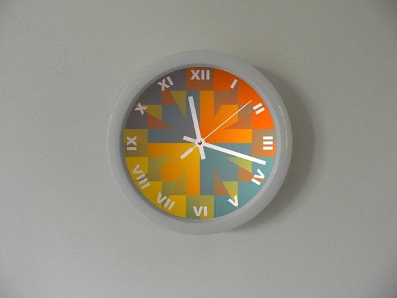 Coloured wall clock clock for children kids room white for Kids room clock