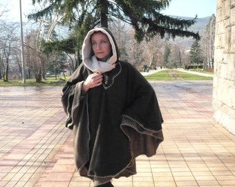 Double Layered Poncho with Hood...3 in 1 mantle, cloak, overcoat