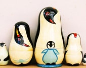 "Penguins Russian Nesting Dolls 4"" Fast Shipping"