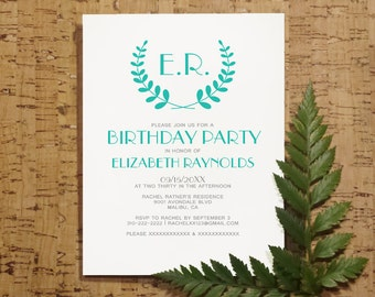 Turquoise Monogram Birthday Invitation Template, Printed/Printable Birthday Invitations, Birthday Invites,Digital, PDF, DIY Party
