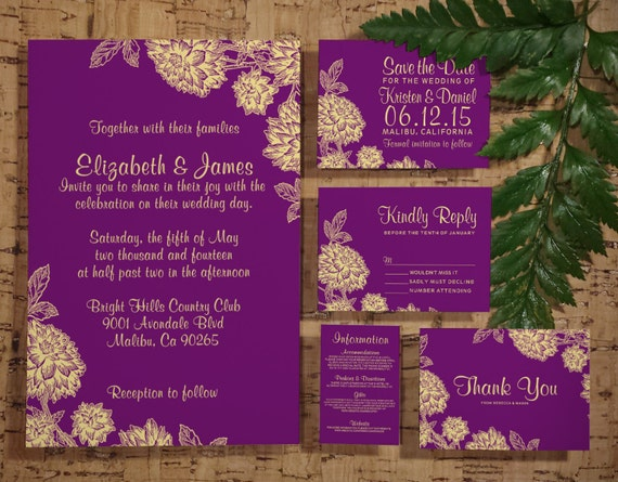 Purple And Gold Wedding Invitations: Elegant Purple And Gold Wedding Invitation By InvitationSnob