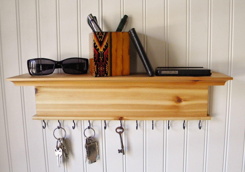 Key Holder Wall Shelf Modern Rustic Wood Handmade Wall Mounted