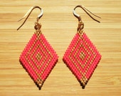 Pearl diamond earrings hand woven Miyuki pink coral and Golden ties gold filled 14 carats