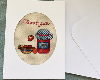 Thank You Card, Cross Stitch Card Handmade