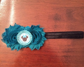 Turquoise minnie mouse shabby flower headband. Flower hair accessory. Disney headband. Blue