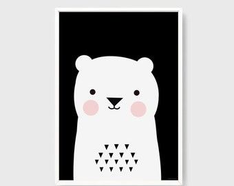 INSTANT DOWNLOAD Cute bear printable art Black and white Home decor poster Kawaii baby room art Decor print nursery Digital file A3