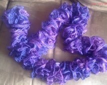 Hand knitted ruffle purple long women's scarf, st. Valentine's gift, Mother's Day gift