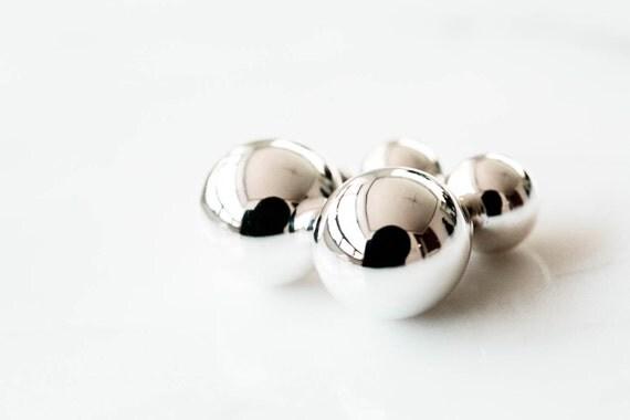 925 argent sterling boucles d 39 oreilles boule double par comejew etsy le fait main. Black Bedroom Furniture Sets. Home Design Ideas