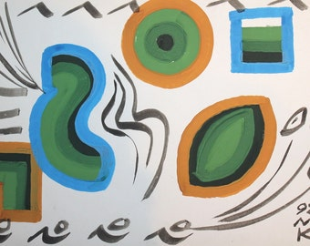 Cubist suprematist modernist gouache painting signed